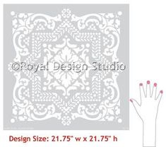 Our Lisboa Tile Stencil is a beautiful classic tile stencil design inspired by the Portuguese tiles, known as azulejos, that line the walls of Lisbon, Portugal. Use this pretty tile stencil on walls, Large Wall Stencil, Stencil Painting On Walls, Stencil Diy, Tile Stencils, Stenciling, Tile Painting, Damask Stencil, Wall Stencil Patterns, Stencil Designs