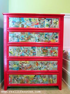Decoupage a boring dresser with comic book pages to create a unique one-of-a-kind comic book dresser! Boy Room, Kids Room, Boy Dresser, Dresser Ideas, Dresser Drawers, Decoupage Furniture, Decoupage Dresser, Book Furniture, Wallpaper Furniture