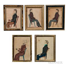 American School, Early Century Five Portraits of Members of the Nessly Family Unsigned, with identities of sitters on the reverse. Watercolor on paper, 7 x 5 in. Miniature Portraits, Family Portraits, Watercolor Art, Folk Art, 19th Century, Art Decor, Auction, History, American