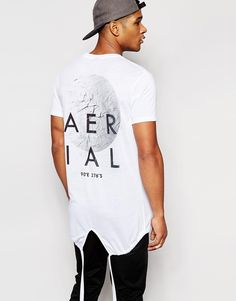 ASOS+Super+Longline+T-Shirt+With+Back+Print+And+Fishtail+Hem+In+White