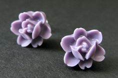 Lavender Flower Earrings. Purple Lotus Rose Earrings. Post Earrings. Purple Earrings. Silver Stud Earrings. Flower Jewelry. Handmade Jewelry by StumblingOnSainthood from Stumbling On Sainthood. Find it now at http://ift.tt/1XoMqCc!