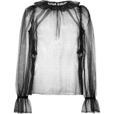 Dolce & Gabbana transparent ruffle blouse (€780) ❤ liked on Polyvore featuring tops, blouses, black, sheer blouses, ruffle sleeve blouse, flutter sleeve blouse, flutter-sleeve tops and ruffle sleeve top