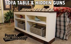 Hidden Firearms Concealment Furniture – Sofa Table Bookcase with Hidden Gun Storage Woodworking Furniture Plans, Woodworking Projects That Sell, Woodworking Ideas, Bookcase Storage, Bookshelves, Hidden Gun Storage, Secret Storage, Swing Sets For Kids, Diy Bed Frame