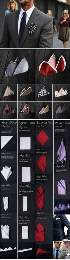 How to Fold Pocket Squares for Men's Suits. Visit www.karenannletti... for more styling information and tips!
