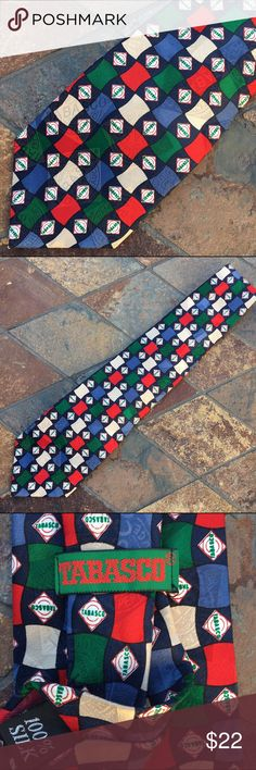 🆕Tabasco 100% Silk Tie Tabasco 100% silk tie has a black background with blue, green, red & tan rectangle shapes. In excellent like new condition with NO spots or damage. Purchase this one for $22 or all three Tabasco ties for $45. Tabasco Accessories Ties