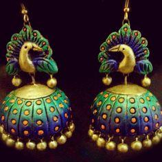 terracotta craft - G Peacock Jewelry, Funky Jewelry, Beaded Jewelry, Handmade Jewelry, Boho Jewelry, Ethnic Jewelry, Clay Beads, Polymer Clay Jewelry, Clay Earrings