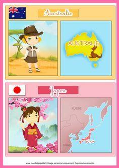 apprendre les pays du  monde Around The World Theme, World Thinking Day, World Crafts, Teaching French, World Cultures, Childhood Education, Preschool Activities, Montessori, Kindergarten