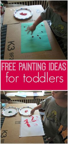 Sometimes it's fun to just put on some music and paint. Here are two free painting ideas for toddlers that we recently enjoyed
