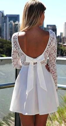 White Party Dress Long Sleeve Skater Lace Www Loveitsomuch