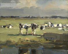 Landscape summmer #4 Cows in sunlight - Koeien -- Roos Schuring