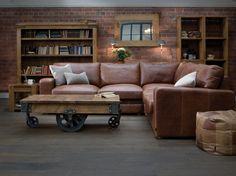 The Square Arm Leather Corner Sofa - Indigo Furniture