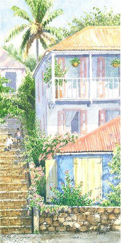 Jumpin' Fun by Anne Miller, x watercolour print Art Houses, Watercolor Print, Watercolours, Home Art, Caribbean, Cabin, Architecture, House Styles, Fun