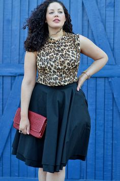 Curvy Girl Fashion - {Wearing} Forever 21 Top(+ versionhere) / Vintage Necklace (similar here)/ H Rings / Michael Kors Watch / Mod Cloth Skirt(available in XS-3X!) / Cole Haan Clutch (similar here & here) / Ivanka Trump Pumps