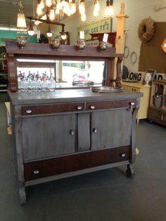 1940 S Antique Tiger Oak Empire Sideboard Buffet Server