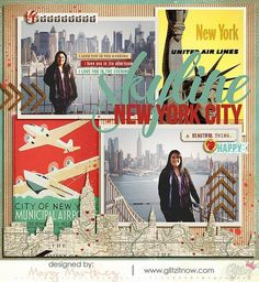 Happy Travels Paper Kit - Snap Click Supply Co. Travel Scrapbook Pages, Vacation Scrapbook, Scrapbook Journal, Scrapbook Page Layouts, Scrapbook Supplies, Scrapbook Cards, New York Scrapbooking, Happy City, Bridal Shower Scrapbook