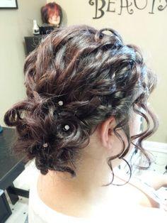 Curly updo for shoulder length hair