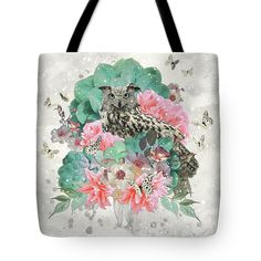 Tote Bag FLORAL OWL  #bag #totebag  #owl #bags #floral #flowers #nature #fashion #designer #printed #style #pink #grey #turquoise #bird #owls #painting #art #gift #gifts #original #ideas #diy #shopping #beauty #cacti #cactus #succulent #succulents #blooming #spring #winter #summer #holiday #season #mystyle