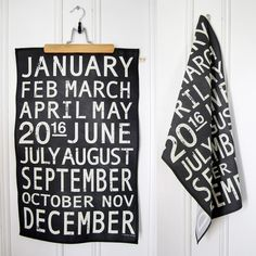 Vintage Metro 2016 Calendar Tea Towel - ChalkDust | by hangtightstudio