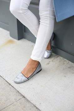 White Jeans + Pink & Pepper Silver Flats