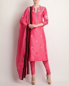 Cherry Leather Sequinned Embroidered Kurta