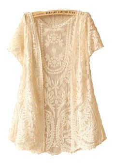 Beige Flowers Hollow-out V-neck Short Sleeve Lace Cardigan