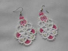White earrings, earrings lace, tatting earrings , tatting jewellery , summer earrings