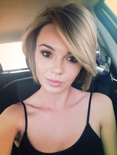 Blonde Short A-line bob- maybe an inch or two longer than this