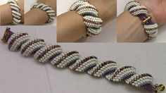 7 Best Spiral Rope Beading Tutorials - Her Crochet Beaded Bracelet Patterns, Beaded Necklace, Beaded Bracelets, Seed Bead Tutorials, Beading Tutorials, Bead Jewellery, Seed Bead Jewelry, Ideas Joyería, Jewelry Model
