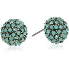 "Betsey Johnson ""Mint Multi"" Pave Round Stud Earrings"