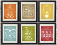 Girls Science Art set of 6 8x10 Instant by PrintsAndPrintables