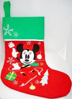Disney Minnie Mouse Christmas Ice Skating Stocking Disney Christmas Stockings, Disney Christmas Decorations, Minnie Mouse Christmas, Holiday Decor, Ice Skating, Skate, Cards, Boots, Xmas