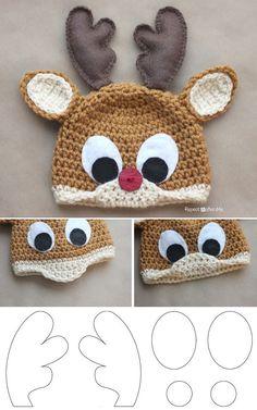 Rudolph The Reindeer Free Crochet Hat Pattern - DIY