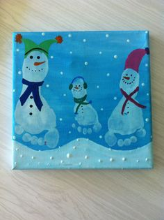 Siblings footprint art, Kids ⛄snowman winter craft Holiday Crafts For Kids, Diy Christmas Gifts, Christmas Activities, Xmas Crafts, Baby Crafts, Fun Crafts, Christmas Ornament, Christmas Canvas, Christmas Projects