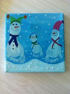 Siblings footprint art, Kids ⛄snowman winter craft