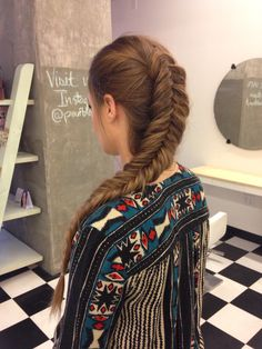 Dutch fishtail braid via Blohaute using Fave4hair products at Pouf Blowout Styling Salon in Dallas