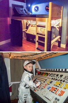 What a great kids bedroom with real spaceship captain's console 3 In One, Jukebox, Spaceship, Kids Bedroom, Desk, Furniture, Child's Room, Console, Home Decor
