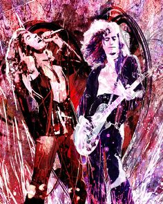 "Led Zeppelin Art Print, Jimmy Page and Robert Plant Fine Art Painting, Limited Edition Print ""Heartbreaker"" by Ryan, Nevada"