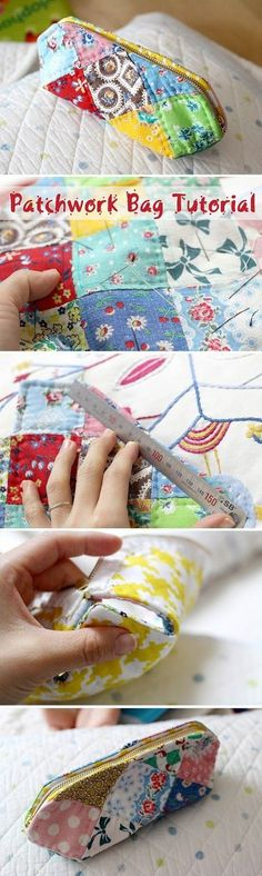 How to make DIY Picture Tutorial cosmetic bag purse fabric sewing patchwork. Сумочка-косметичка пэчворк. Фото-инструкция по шитью. http://www.handmadiya.com/2015/09/a-patchwork-cosmetic-bag-tutorial.html