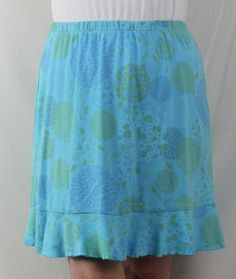 Cute icantoo L size Blue Floral Cotton Skirt Elastic Waist Ruffle Hem nice for Beach or Vacation