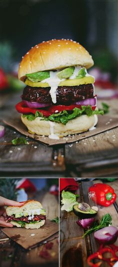 The Best Veggie Burger Ever, Hawaiian Style: Avocado, grilled pineapple, onions, red pepper, and ranch on a toasted sesame bun.