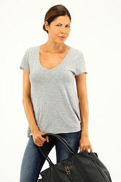 American Vintage - T-Shirts - Abbigliamento - T-Shirt in cotone con scollo a V e manica corta. - GRIS CHINE - € 45.00