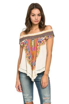 Camiseta étnica hombros descubiertos y colores Axaca