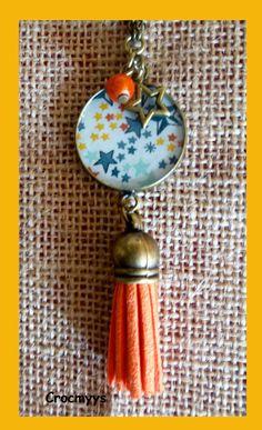 Sautoir rétro liberty multicolore et orange : Collier par crocmyys