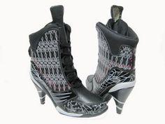Air Jordan 11 High Heels Black White Red - Nike Heels For Women - Click Image to Close High Heel Sneakers, Sneaker Heels, High Heel Boots, Bootie Boots, Shoe Boots, Jordan Boots, Jordan Heels, Jordan Shoes For Women, Creeper Sneakers