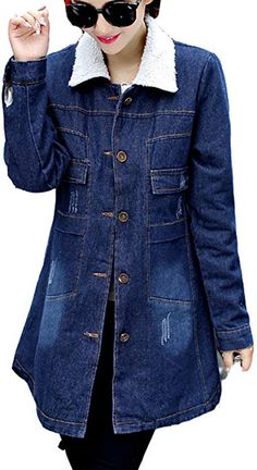 2cc54bbd1d Luodemiss Women s Fleece Fall Washed Blue Denim Long Jacket Fashion Front  Button Down Jean Coat 2XL White Fleece