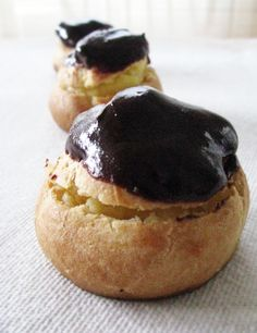 cream puffs with vanilla pastry cream + chocolate ganache