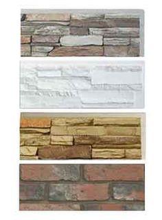 Faux Stone Panels, Faux Brick, Stacked Stone Veneer Siding - Faux Stone Depot Polyurethane. Super cheap. Have kits to wrap columns. Faux Stone Siding, Stone Veneer Siding, Faux Stone Panels, Brick Siding, Faux Panels, Faux Brick, Decorating Blogs, Interior Decorating, Cottage Decorating