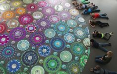 Kaleidoscopic Installations Made of Thousands of Pieces Crawl Across Floors, Walls, and People - My Modern Met