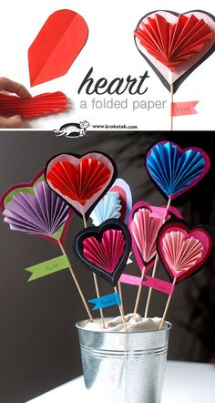 A folded paper heart craft for kids