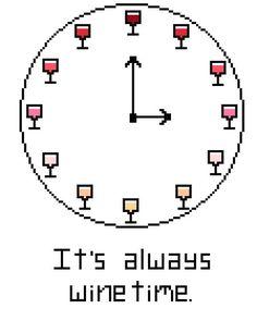 It's Always Wine Time (Finished Cross Stitch)